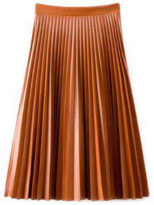 PU Leather Accordion Pleat Skirt - Darksalmon M