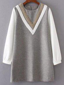 V Pattern Wool Spliced Shift Dress - Gray S