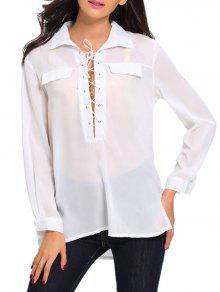 Lace Up High Low See Through Shirt - White M