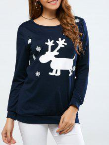 Christmas Deer Print Snowflake Sweatshirt - Purplish Blue Xl
