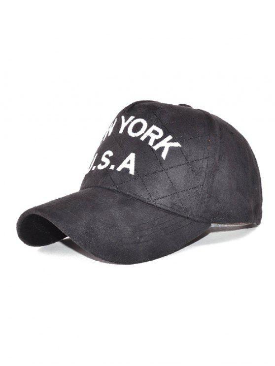 hot Corduroy USA Letter Embroidery Baseball Hat - BLACK