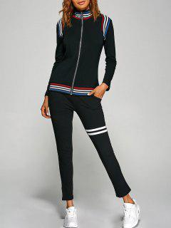 Stripes Spliced Gym Outfits - Black S