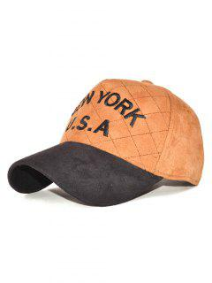 Corduroy USA Letter Embroidery Baseball Hat - Khaki