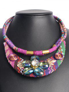 Ethnic Style Floral Faux Crystal Necklace - Amethyst