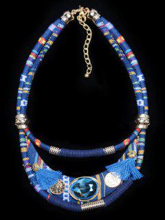 Vintage Layered Faux Crystal Necklace - Blue
