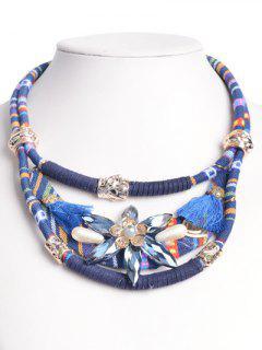 Bohemia Floral De La Borla De Imitación De Cristal Gargantilla - Azul