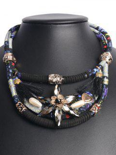 Bohemia Floral Tassel Faux Crystal Choker - Black