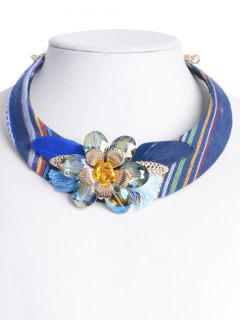 Ethnic Feather Flower Embellished Statement Choker - Blue