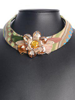 Ethnic Feather Flower Embellished Statement Choker - Brown
