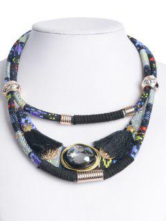 Ethnic Layered Faux Crystal Necklace - Black