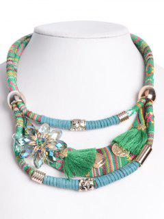 Ethnic Floral Faux Crystal Statement Necklace - Green