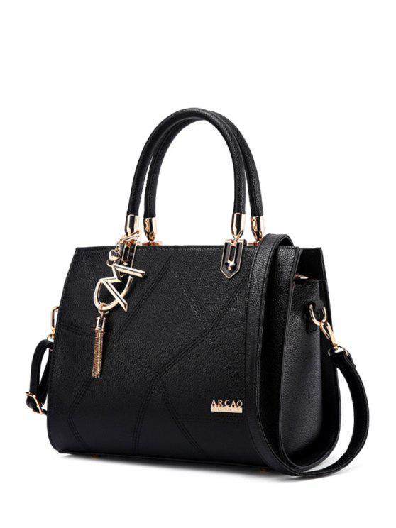 shop Textured Leather Metal Stitching Tote Bag - BLACK