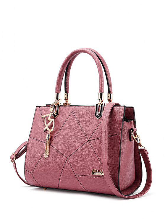 shops Textured Leather Metal Stitching Tote Bag - PINK