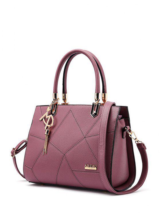 Metal con textura de cuero bolsa de asas de costura - Rojo Violeta