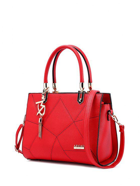 محكم جلد معدن خياطة حمل حقيبة - أحمر