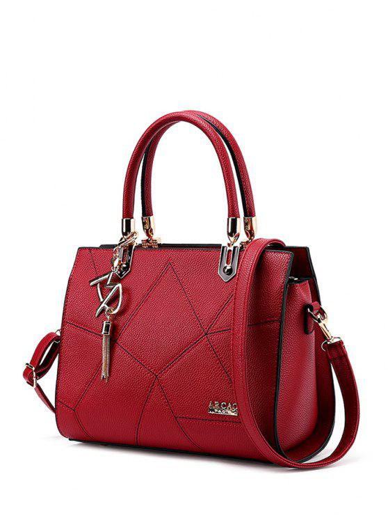shops Textured Leather Metal Stitching Tote Bag - WINE RED