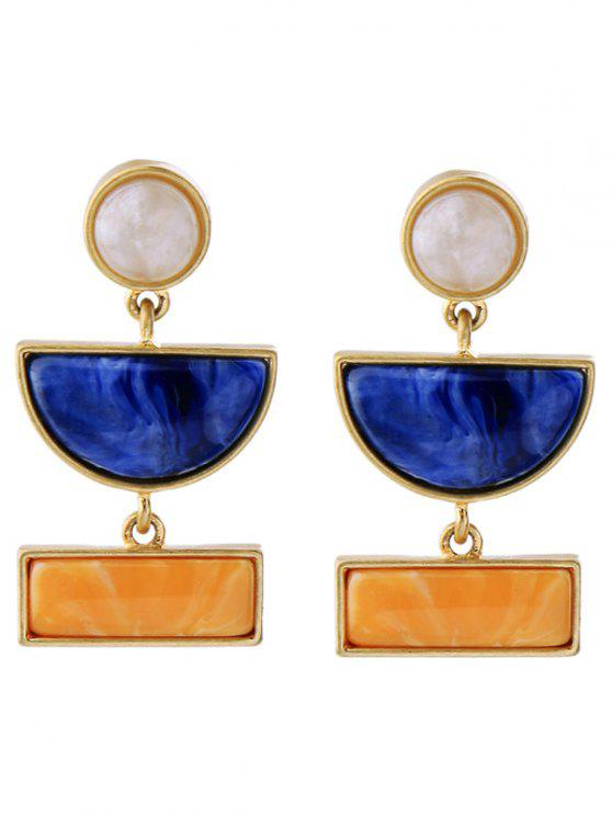 shops Geometric Fake Gemstone Drop Earrings - GOLDEN