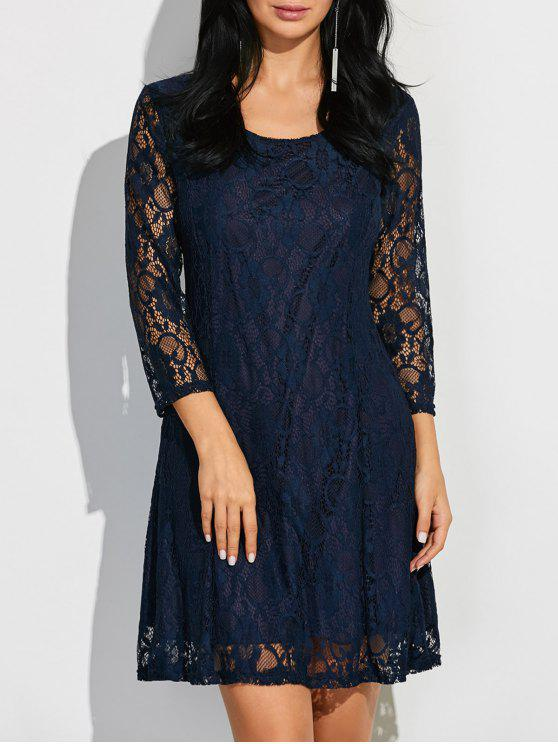new Short Lace Dress With Sleeves - PURPLISH BLUE XL