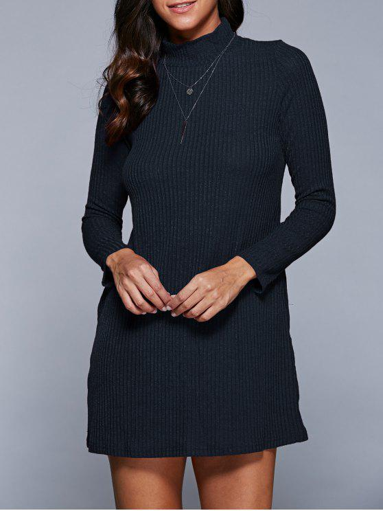 trendy Long Sleeve A Line Sweater Dress - PURPLISH BLUE S
