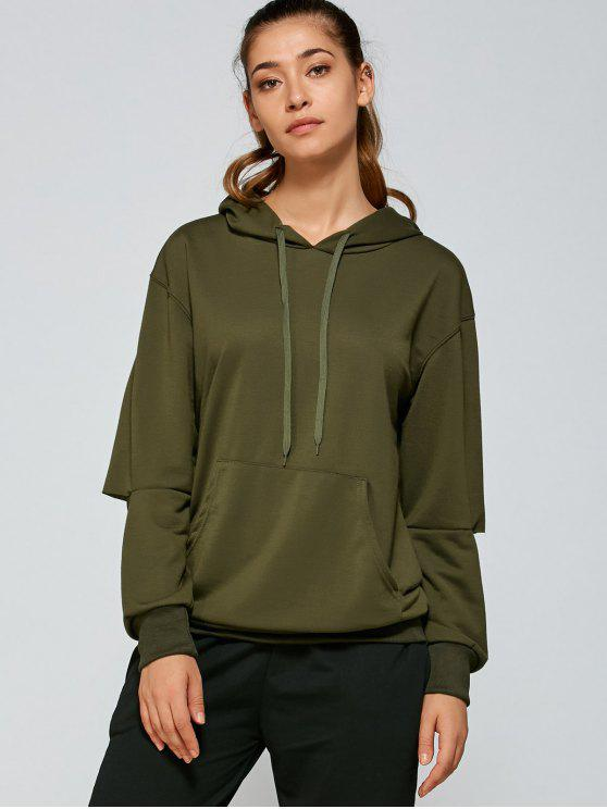 women Front Pocket Ripped Hoodie - ARMY GREEN S
