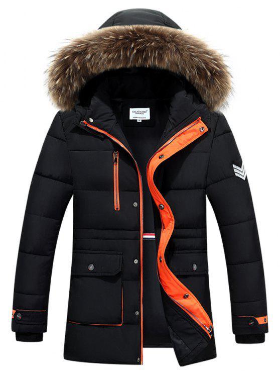Colletto in pelliccia sintetica con cappuccio Color Block Zip-up cappotto imbottito - Nero M