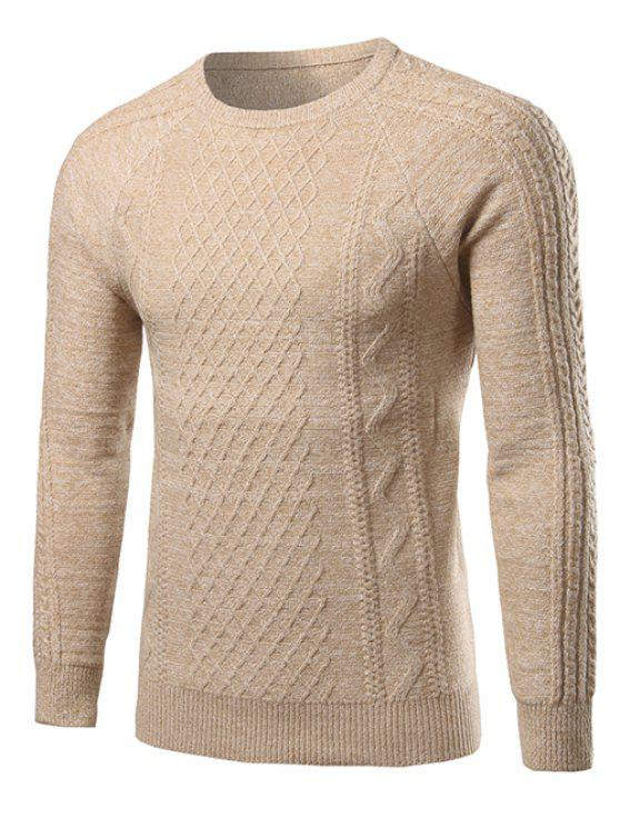 Heathered padrão geométrico Raglan camisola de manga - Bege L