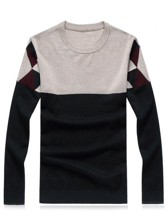 sale Crew Neck Geometric Color Block Splicing Plus Size Sweater - GREEN M