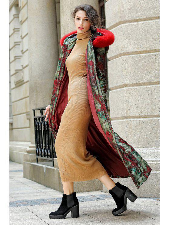 Impreso de piel con capucha palangre Escudo acolchado - Floral S
