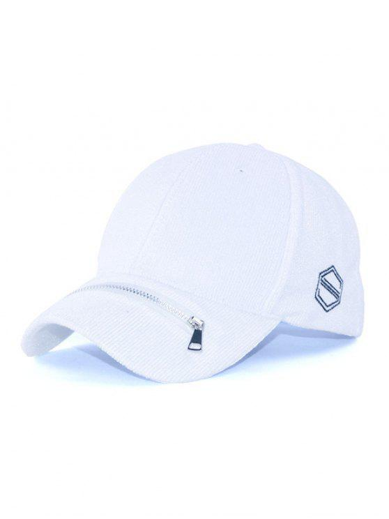 lady Outdoor Zipper S Letters Adjustable Baseball Cap - WHITE