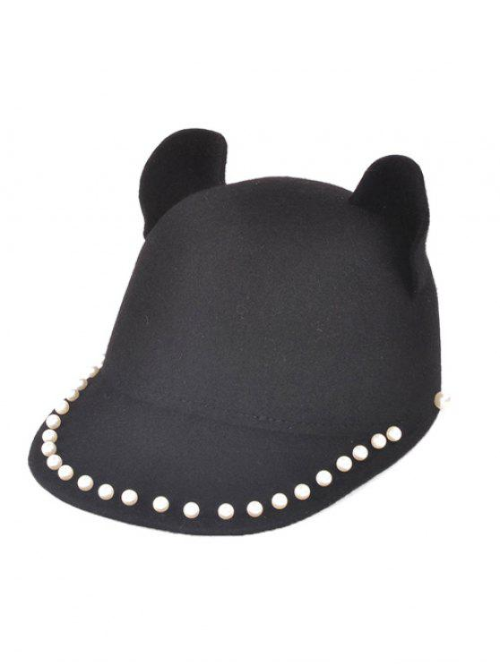 new Adjustable Outdoor Faux Pearls Cat's Ear Equestrian Hat - BLACK