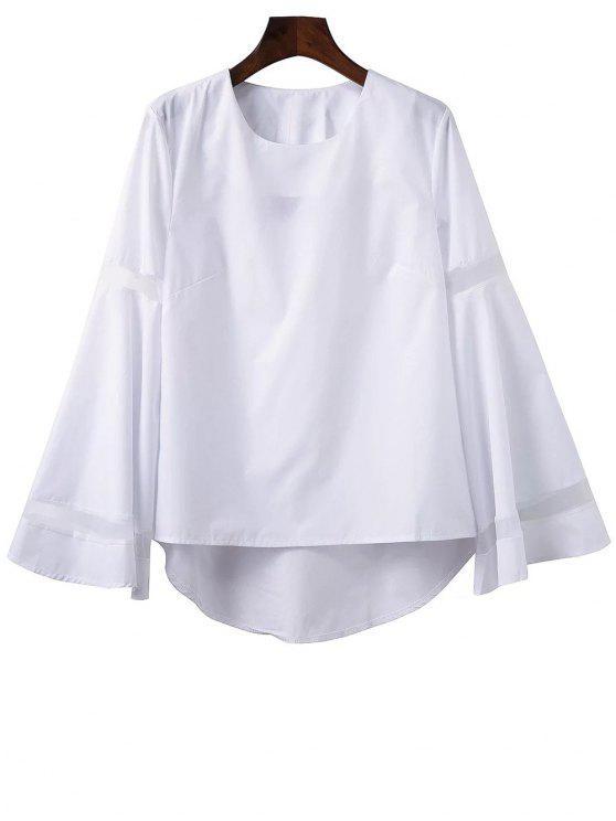 Gasa empalmado manga de Bell Alta Baja Tee - Blanco L