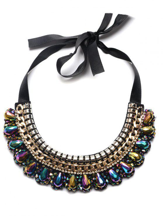 buy Alloy Artificial Gem Water Drop Necklace - BLUE