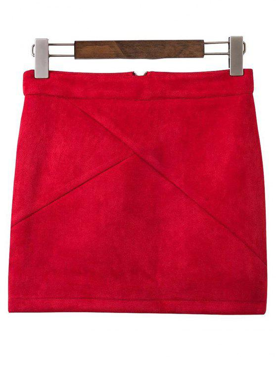 new Mini Faux Suede Skirt - WINE RED M