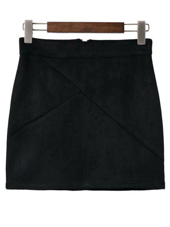 Mini robe zippée et brune de suédine - Noir S