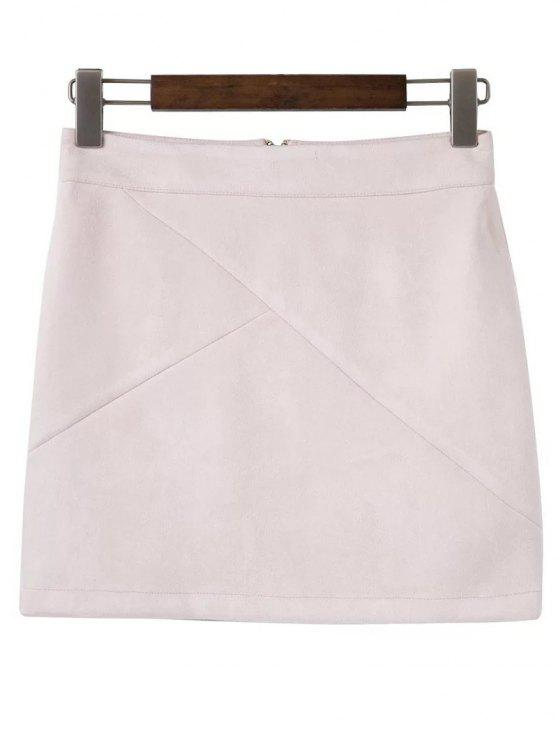 Mini falda de gamuza sintética - Rosado Claro M