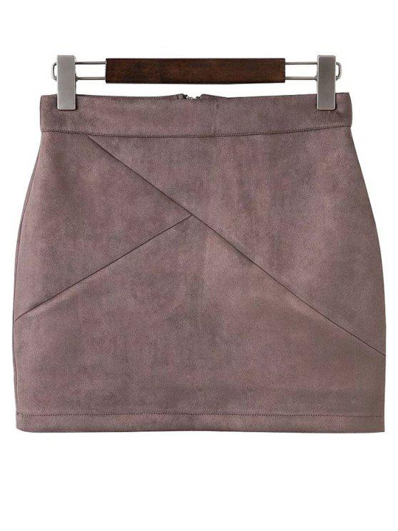 affordable Mini Faux Suede Skirt - PALE PINKISH GREY S