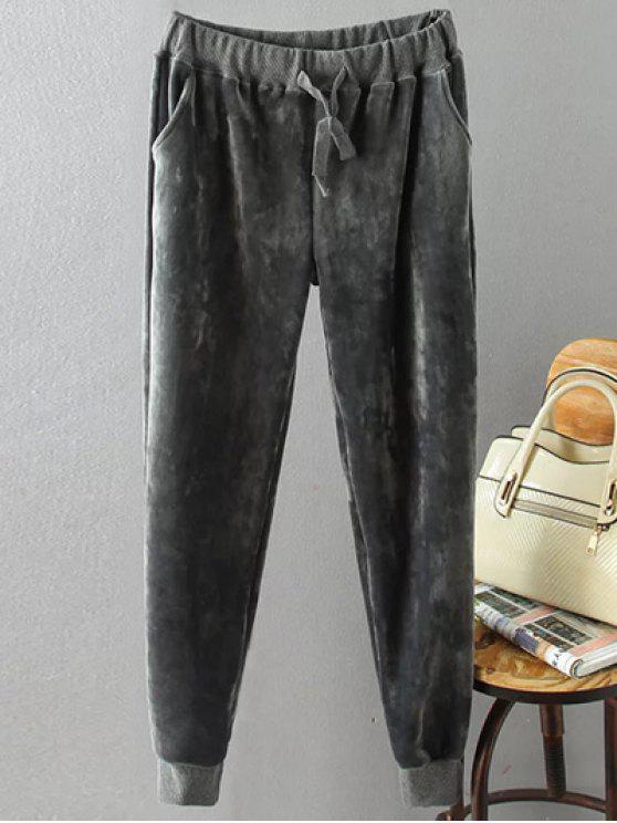 Flocado con cordón más el tamaño de los pantalones - Gris XL