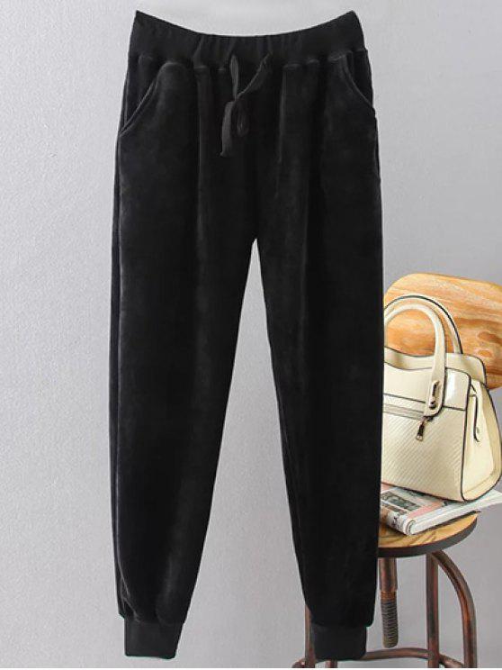 lady Drawstring Flocking Plus Size Pants - BLACK 3XL