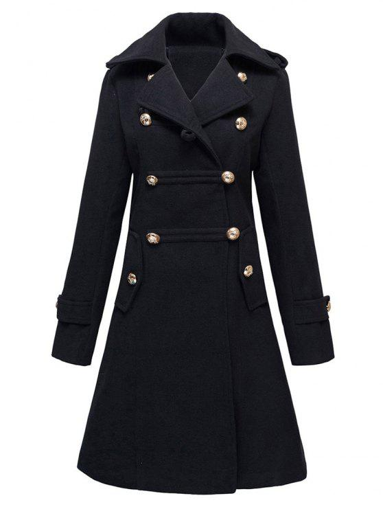 trendy Woolen Double-Breasted Coat - BLACK L