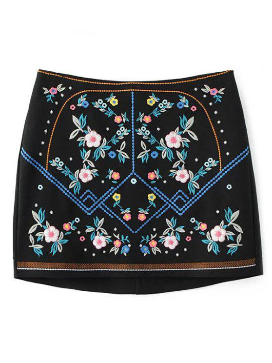 trendy Floral Embroidered Sheathy Mini Skirt - BLACK S