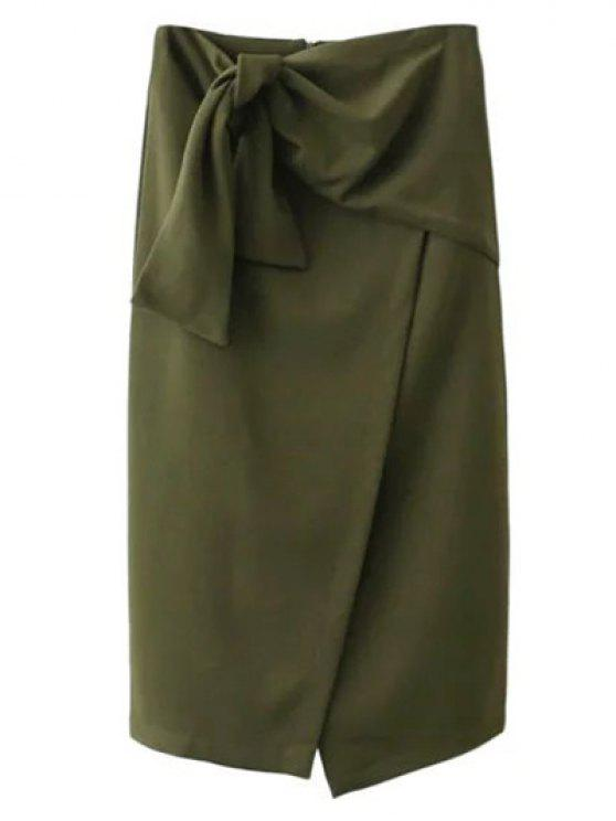 latest Tied Asymmetric Front Slit Skirt - ARMY GREEN S