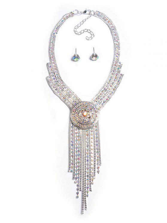 online Fringe Rhinestone Jewelry Set - SILVER