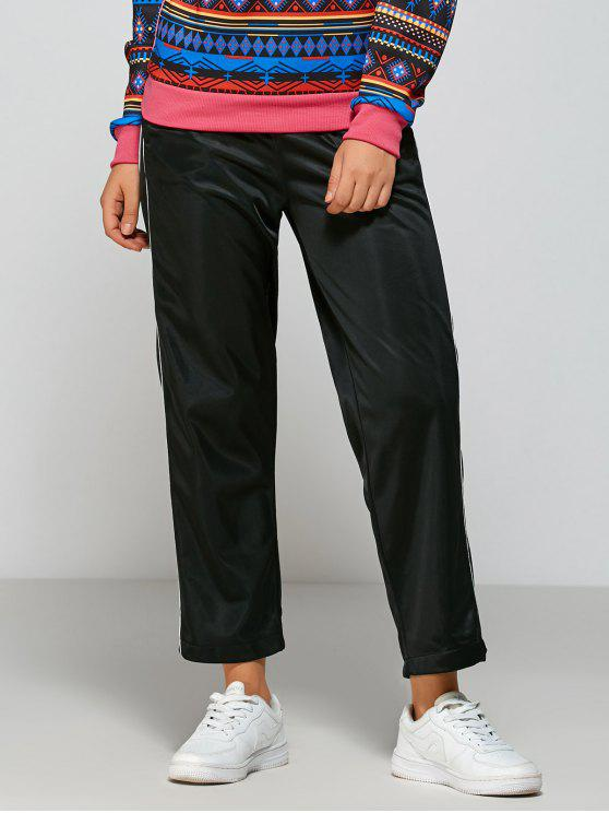 Pantalones a rayas de pista de montaje - Negro Única Talla