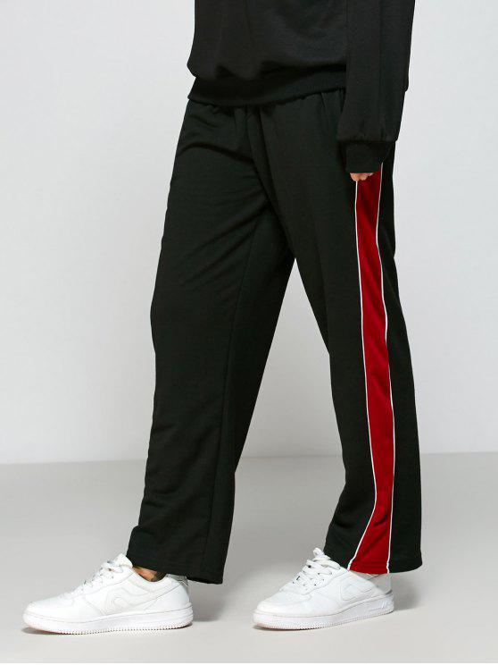 fashion Color Block Fitting Track Pants - BLACK L