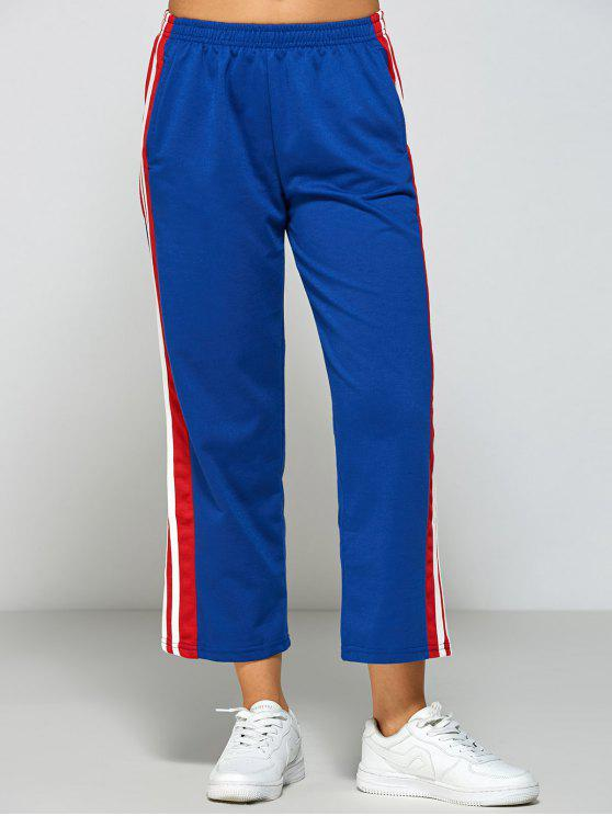 fancy Stripes Fitting Track Pants - BLUE L