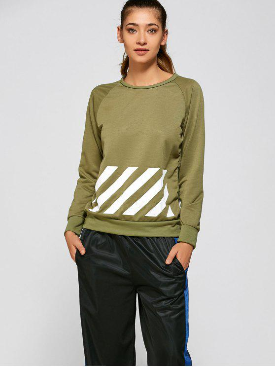 lady BF Style Printed Sports Sweatshirt - GREEN S