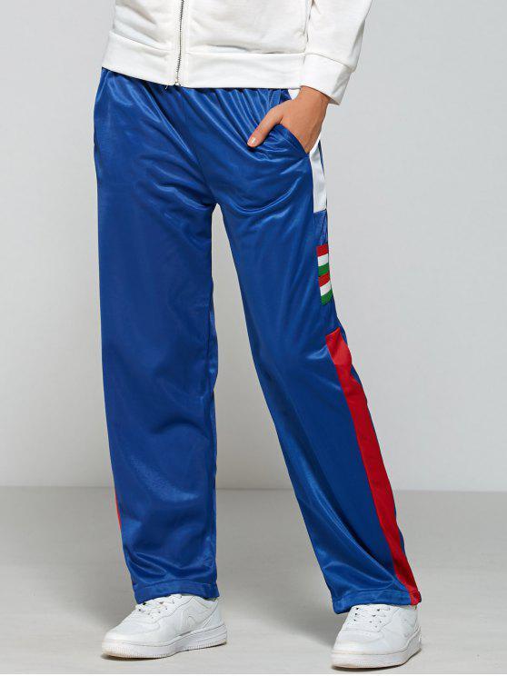 Pantalones del bloque del color de la cintura elástico de pista - Azul L