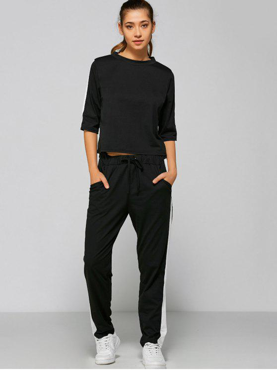 best Drawstring Pants with Color Block Top - BLACK M