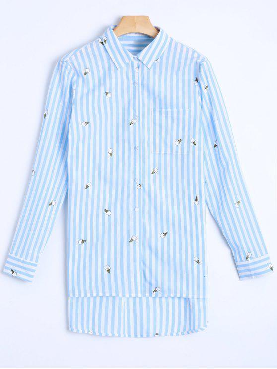 Listrado cone de gelado do Oversized shirt - Azul e Branco M