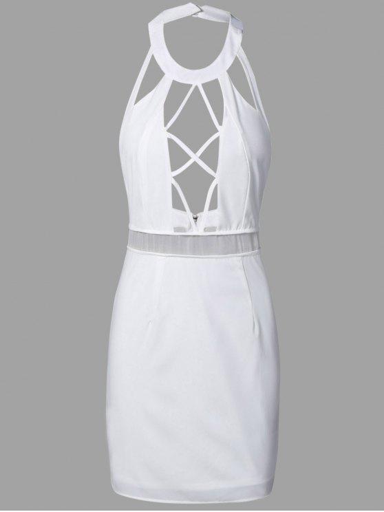 unique Backless Cut Out Bodycon Dress - WHITE L